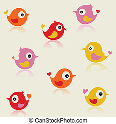 Birdies - Set of small cheerful birdies. A vector...