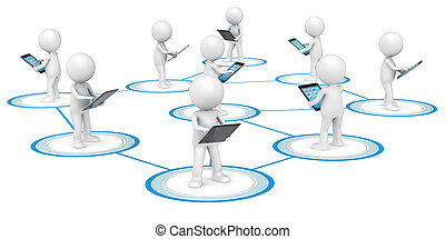 Social Network. - 3D little human character X9 in a Network,...