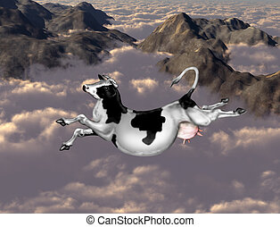 Flying cow - Illustration of a cow flying over clouds and...