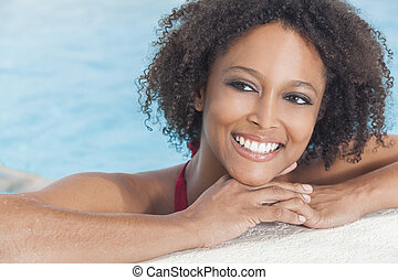 Sexy African American Woman Girl In Swimming Pool - A...