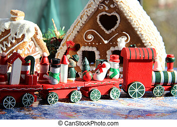 Christmas baked sweet houses and red train