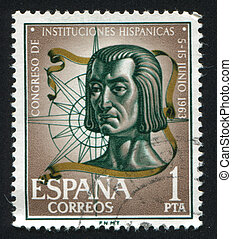Columbus and compass rose - SPAIN - CIRCA 1963: stamp...