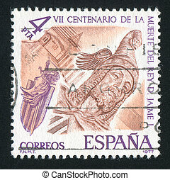 King James I - SPAIN - CIRCA 1977: stamp printed by Spain,...