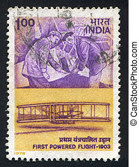Wright Brothers - INDIA - CIRCA 1978: stamp printed by...