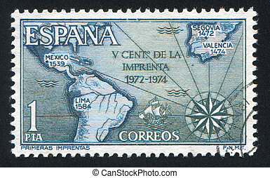 Map of Spain - SPAIN - CIRCA 1974: stamp printed by Spain,...