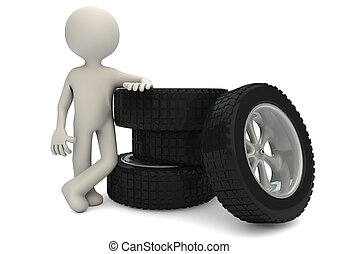 tires_2 - render of a man with a group of tires