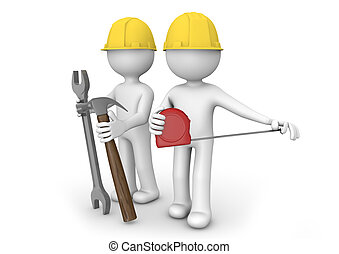 workers - render of two workers with equipment