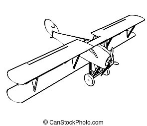 Silhouette of old biplane, engraving Vector illustration
