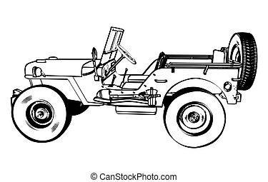 Vintage WWII American Jeep, engraving Vector Illustration,...