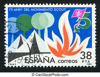 Scouting - SPAIN - CIRCA 1983: stamp printed by Spain, shows...