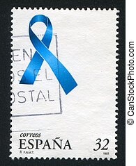 Blue Ribbon - SPAIN - CIRCA 1997: stamp printed by Spain,...