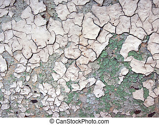cracked paint - The cracked paint on an old metallic...