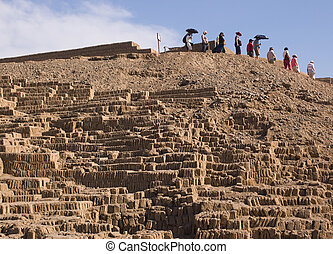 Group of tourists at Huaca Pucllana, Peru