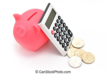 Piggy bank and Calculator and japanese coin on white...