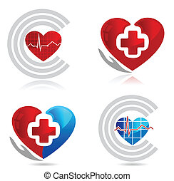 heart symbols - Cardiology, medical and healthy heart...