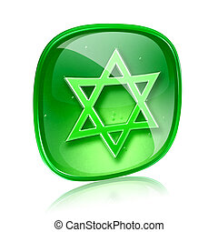 David star icon green glass, isolated on white background
