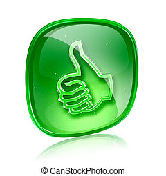 thumb up icon green glass, approval Hand Gesture, isolated on white background.