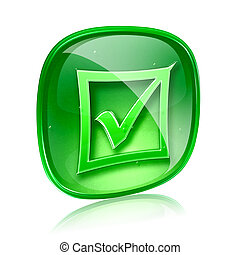 check icon green glass, isolated on white background.
