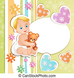 Baby shower card with cute baby boy