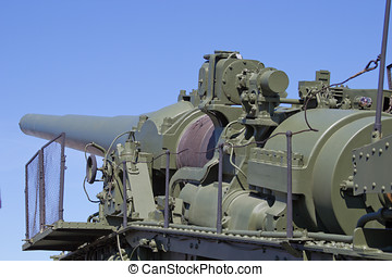 artillery gun traveling by train