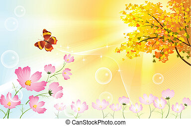 Sunny autumn day with flowers and butterfly