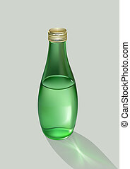 Glass bottle with water