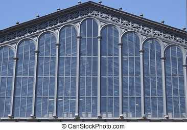 glass facade of a historic building