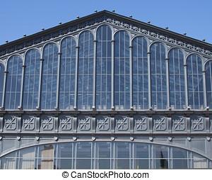 glass facade of a historic building