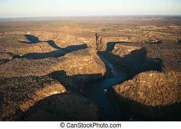 Zambezi River Gorge - Aerial view of Batoka Gorge on the...