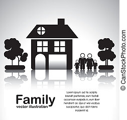 family icons - Illustration of family icons with house and...