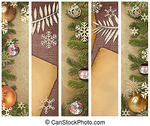 christmas banners - Christmas tree with fur-tree toys, on...