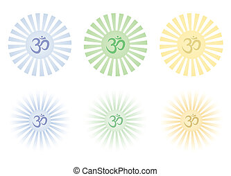 shining Om signs - set of shining Om signs vector...