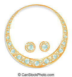 Golden Earrings Necklace Set With Blue Pearls