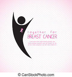 breast cancer - Illustration of breast cancer, woman with...