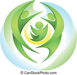 Eco-icon with happy green family