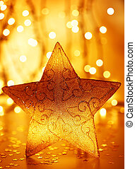 Christmas tree star decoration with winter ornament as...