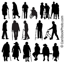 elderly silhouettes - elederly silhouettes set