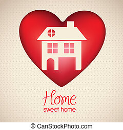 home icon - Illustration of home icon on heart, house...