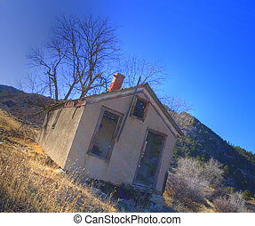 Abandoned house - House in a ghost town that is in northern...