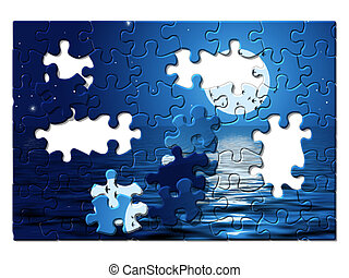 Puzzles - night, moon, ocean