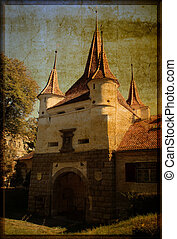 Medieval gate - Scene with medieval gate over grunge...
