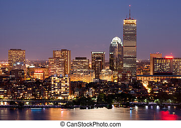 Boston Back Bay - Bostons Back Bay skyline at dusk, aerial