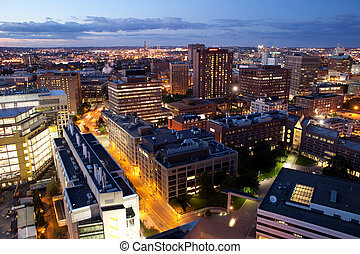 Aerial view of Cambridge and Boston