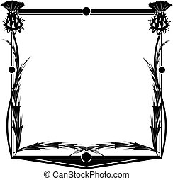 frame with thistle - vector square frame with flowers of...