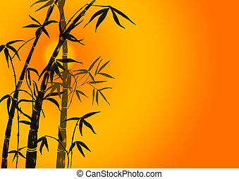Silhouette of branches of a bamboo on a orange background