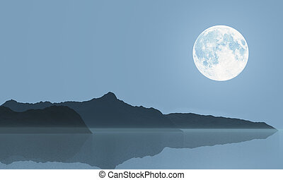 The Moon - Full moon over the sea and hills. Illustration