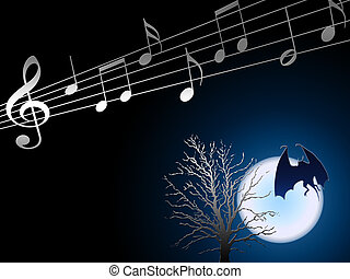 Halloween, night music. Notes and a tree in a moonlight.