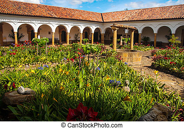 Monastery Courtyard - The courtyard of a monastery in...