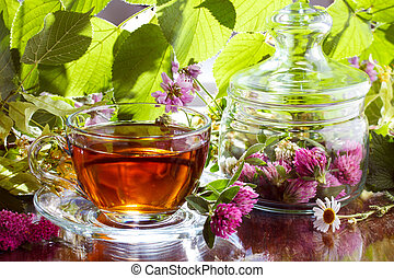 Herbal tea with clover and chamomile