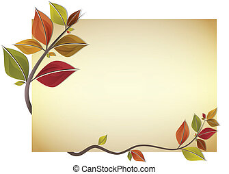 Autumn card - Card decorated with branch of autumn colorful...